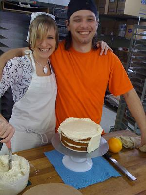 Hannah's husband Jason, ourhead bake, with his assistant, Heather